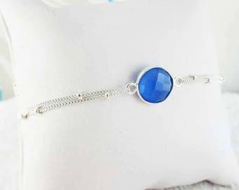 Chalcedony silver bracelet blue stone set (made in France)