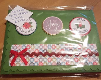 A Pack of 5 Handmade Christmas Cards