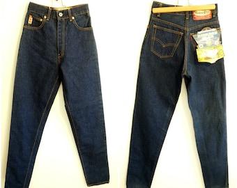 Mom jeans W25 cigarette pants high waisted jeans pants for women men high waist dark indigo blue dead stock vintage 90s size XS