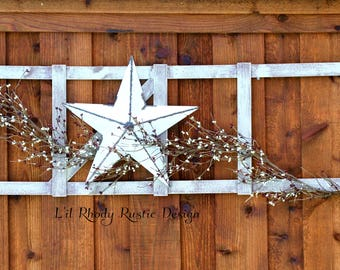 Rustic Ladder with Pip Berry Garland,Primitive ladder,Hanging Ladder, Decorative Ladder, Primitive Decor,Country Decor,Rustic Decor