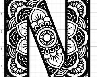 zentangle coloring pages letter n | Zentangle alphabet | Etsy
