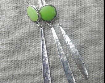 """Enamelled sequin """"Green Apple"""" earrings drops"""