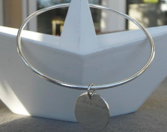 "Silver Bangle Bracelet ""Medal"" 66 mm"