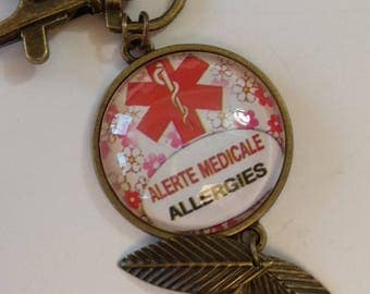 key with allergy medical alert cabochon