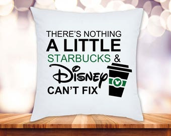 "Disney Starbucks 14"" Pillow Cover"