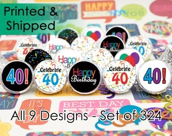Happy 40th Birthday Party Sticker Decorations for Hershey Kisses, Envelope Seals, Candy Decorations (Set of 324)