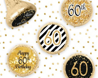 60th Birthday Party Decorations - Gold and Black - Party Favor Stickers for Hershey Kisses - 324 Count