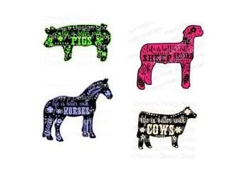Farm animal svg / 4H bundle svg / animal svg / animal cut file / horse svg / cow svg / sheep svg / pig svg / dxf / eps / pdf / animal art
