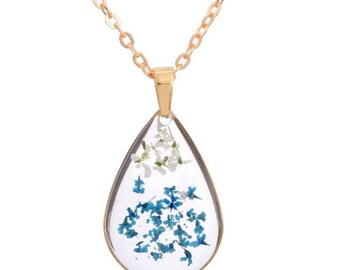Blue and White Baby's Breath Flowers Teardrop Pendant Necklace