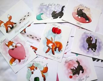 A6 Fox and Cat Motivational print set