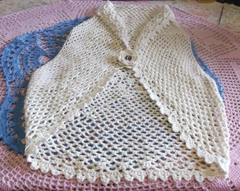 beige sleeveless Bolero with 3/4 years old hand made crochet