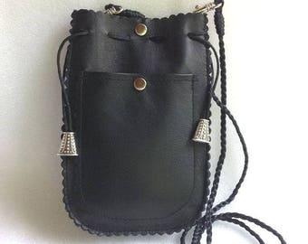 Leather Mini Black Bag Cellphone Pouch Crossbody bag