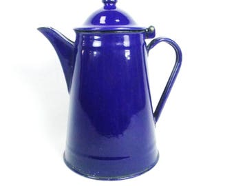 Antique Wonderful Collectible Blue Enamel Tea Coffee Pot