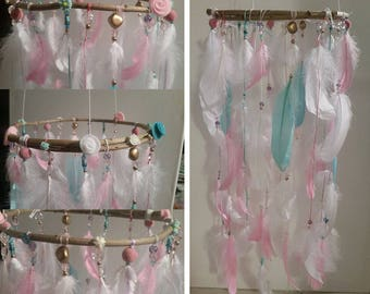 Mobile to decorate the House of Miss, girl room decoration made with feathers and beads, girl and girl