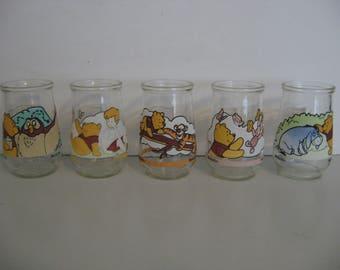 Vintage Welch's Jelly Jars - Set of 5 -  Disney Characters - Winnie The Pooh - Tigger - Eeyore - Piglet
