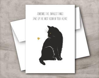 Black cat sympathy card, Cat pet loss card, Cat bereavement card, Cat condolence card, Cat remembrance, Hand drawn cat card. Cat and heart.