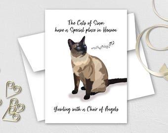 Siamese cat card, Pet loss card, Cat loss card, Siamese cat loss, Siamese bereavement card, Cat sympathy card, Cat remembrance,