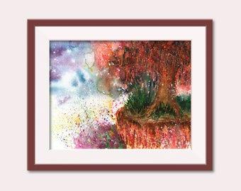 Mystique Landscape Watercolor, Contemporary Art, Home Decor, Watercolor Painting, Tree Painting, Landscape Painting, Tree Watercolor