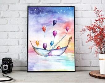 Magic Night Watercolor, Watercolor Painting, Contemporary Art, Fantasy Art, Balloon Painting, Balloon Watercolor, Watercolor Art, Watercolor