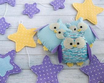 Baby shower decorations Baby garlands Purple nursery decor Blue nursery Owl decor New baby gift Star garland Purple kids room Owl ornaments