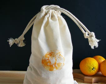 Bag loose (large) Zero waste in organic cotton muslin - orange pattern