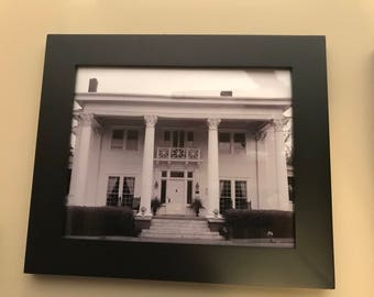 Framed Black and white southern mansion photograph home or office wall art decor