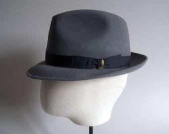 Barbisio. One of a kind trilby. Original vintage. Grey fur felt hat. Men's hat. Gray. Italian hat. Vintage hat. Retro accesories