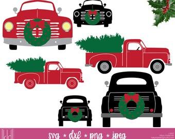 6 Christmas Truck svg - Old Truck svg - Vintage Truck svg - Christmas Wreath svg - Christmas Tree svg - Truck svg files - Christmas svg