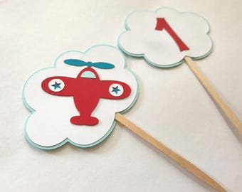 Airplane Cupcake Toppers, Airplane One Topper, Plane Topper