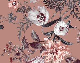 FS101_5 Mink Base Floral Flower Print on High Quality Jersey Scuba Neoprene Fabric (Sold Per Metre)
