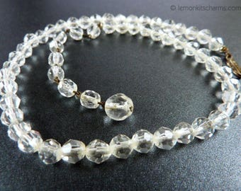 Vintage Clear Crystal Beaded Choker Necklace, Jewelry 1950s Mid-century, Glass Minimalist Simple