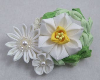 White Daffodil Brooch with Chrysanthemums & Olive Green Branch in half moon shape / Tsumami Kanazshi / Geisha Inspired Wedding Accessories