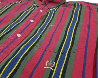 Vtg 90s Tommy Hilfiger Striped Button Up Shirt | Vintage Retro 1990s Long Sleeve | Mens Medium | TUFF