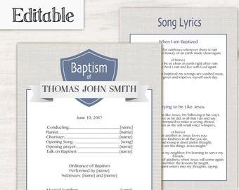 Baptism Program, Editable PDF, LDS Printable Digital Handout boy Baptism, Blue Grey, Baptism Program Template, Instant Download, Boy Baptism