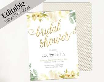 Bridal Shower Editable Invitation, Editable PDF, Bridal Shower white gold, Bridal Shower Invitation Template, Bridal Shower white and gold