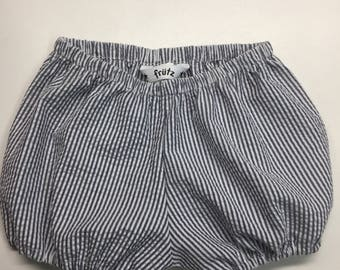 Grey and white pinstriped bloomers