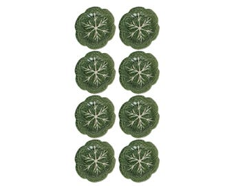 Set of Eight Green Cabbage Leaf Plates