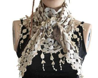 Scarf for women, Beige Women scarf, Summer lace Scarf , Bridesmaid Scarf, Beige Fringed Scarf, Wedding Bride Accessories, Scarf Shawl