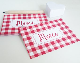 Set of 18 cards of thanks with a gingham print