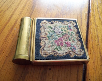 Petit Point Compact with Lipstick Holder