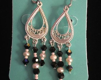 Black and White Chandelier Earrings