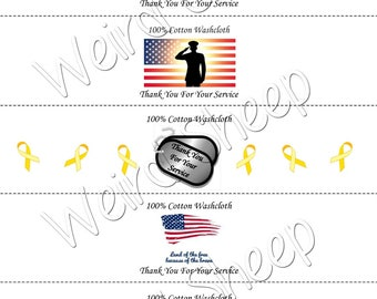 Thank You For Your Service Dishcloth/Washcloth Labels - PDF File Only
