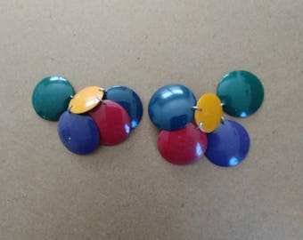 Vintage Color Circle Earrings