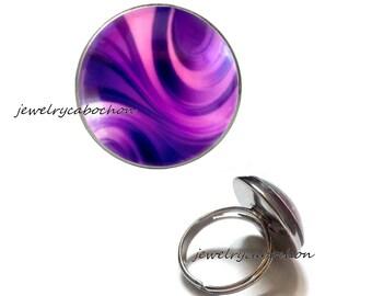 Ring purple glass cabochon