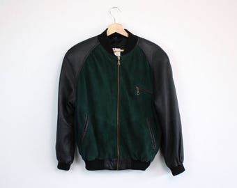 G. O. L. • Baseball leather bomber • 176 / XS / S • Leather jacket • Bomber jacket • Suede
