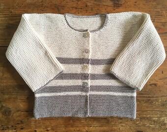 Vest cotton organic White Vanilla striped bead
