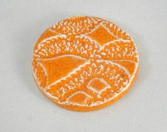 Round ceramics cabochon hand-made : orange, reason lace