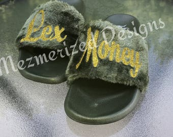 Olive green fur slides customized