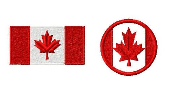 Canada flag embroidery design instant download fits