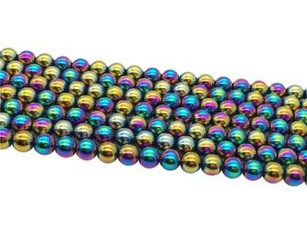 1Full Strand Mystic Blue Hematite Round Beads ,8mm 10mm Hematite Beads For Jewelry Making